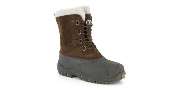 Pánské hnědé boty s bílým kožíškem Kimberfeel