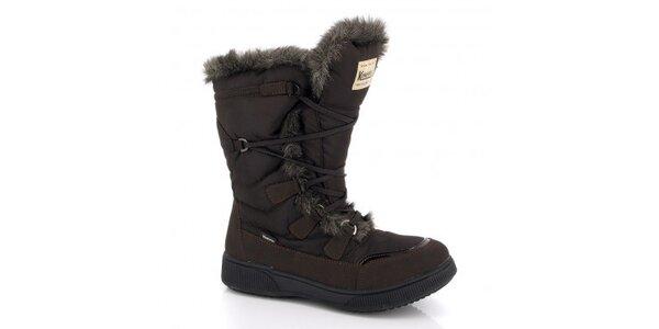 Dámské tmavě hnědé zimní boty s kožíškem Kimberfeel