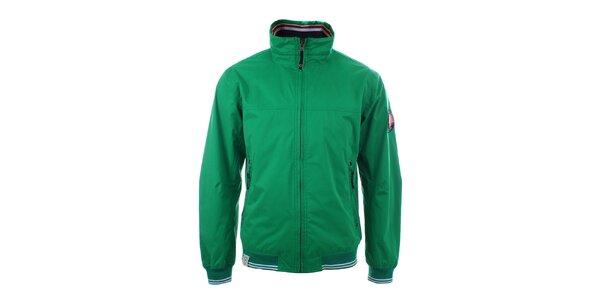 Pánská zelená bunda s pruhovanými lemy Trimm