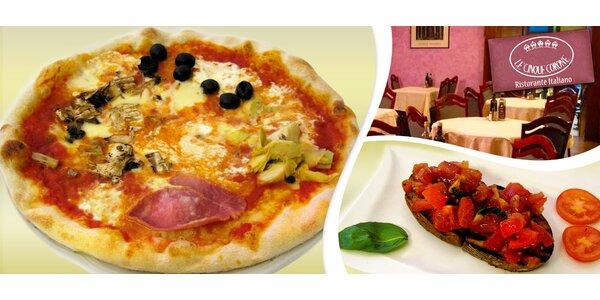 Menu pro dva v italské restauraci Le Cinque Corone