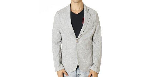 Pánské světle šedé sako s náprsní kapsou Santa Barbara