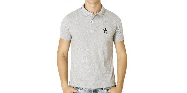 Pánské světle šedé polo tričko s krátkým rukávem Santa Barbara