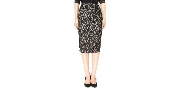 Dámská béžová sukně s černou krajkou Santa Barbara
