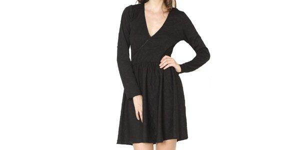 Dámské černé šaty s jemným vzorem Santa Barbara