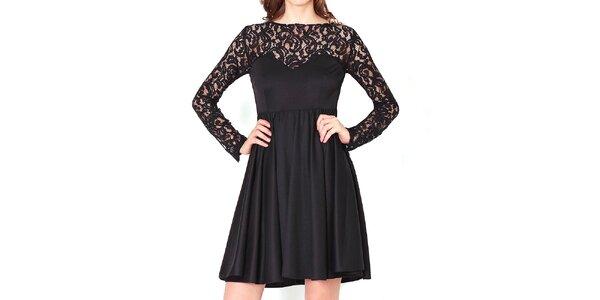 Dámské černé šaty s krajkovými rukávy Santa Barbara
