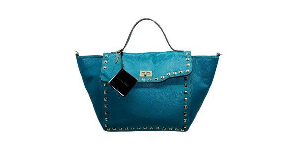 Dámská modrá kožená kabelka s flitry Belle & Bloom