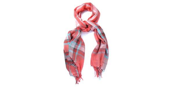 Dámský červeno-modrý šátek Belle & Bloom