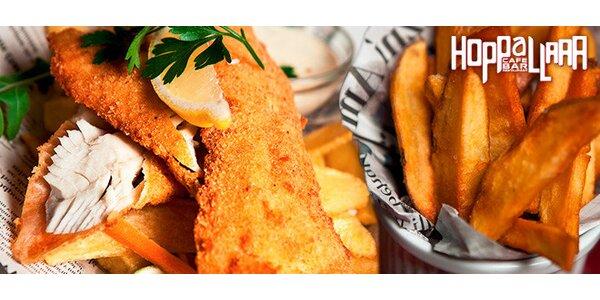 2× fish & chips v baru Hoppallaaa