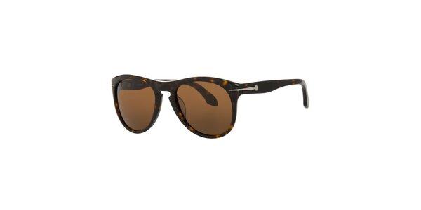 Pánské tmavě hnědé sluneční brýle Calvin Klein v odstínu havana