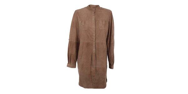 Dámské světle hnědé košilové semišové šaty Company&Co