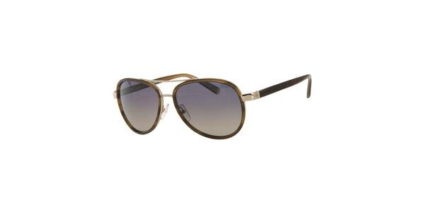 Pánské khaki sluneční brýle Calvin Klein se zlatými detaily a polarizovanými…