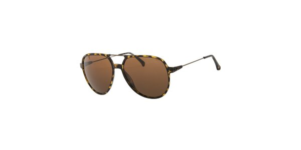 Pánské žluto-hnědé žíhané sluneční brýle Calvin Klein