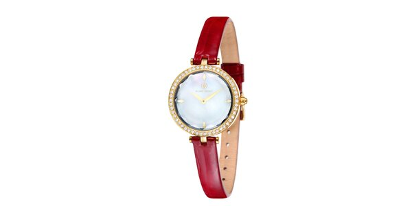 Dámské zlatě zabarvené hodinky s perleťovým ciferníkem Klaus Kobec