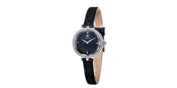 Dámské černé hodinky s bílými kamínky Klaus Kobec