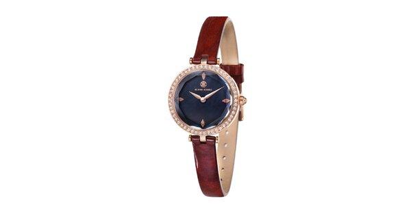 Dámské zlatě zabarvené hodinky s černým ciferníkem Klaus Kobec