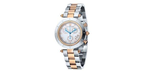 Dámské dvoubarevné hodinky s nápisem na lunetě Klaus Kobec