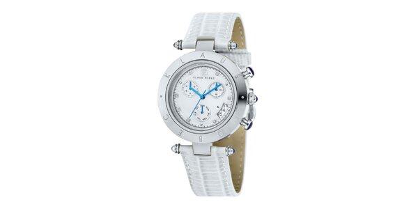 Dámské hodinky s modrými ručičkami a nápisem na lunetě Klaus Kobec