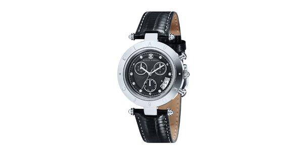 Dámské černé hodinky s nápisem na lunetě Klaus Kobec