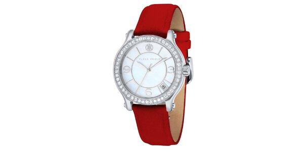 Dámské hodinky s červeným řemínkem Klaus Kobec