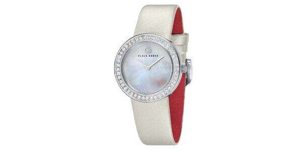 Dámské ocelové hodinky s perleťovým ciferníkem Klaus Kobec