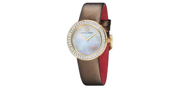 Dámské ocelové hodinky s perleťovým ciferníkem a hnědým řemínkem Klaus Kobec