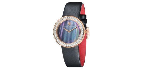 Dámské ocelové hodinky s perleťovým ciferníkem a černým řemínkem Klaus Kobec