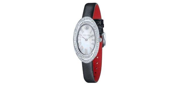 Dámské hodinky s bílými kamínky a černým řemínkem Klaus Kobec