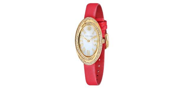 Dámské hodinky s bílými kamínky a červeným řemínkem Klaus Kobec
