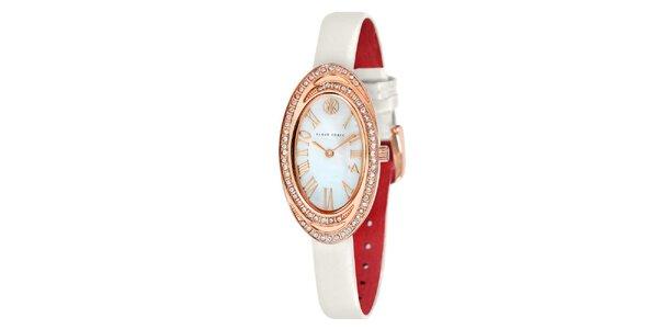 Dámské hodinky s bílými kamínky Klaus Kobec