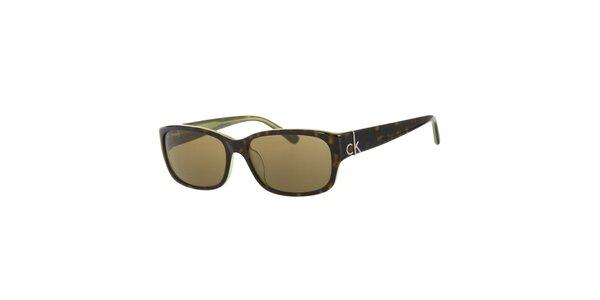 Dámské tmavě zelené želvovinové sluneční brýle Calvin Klein