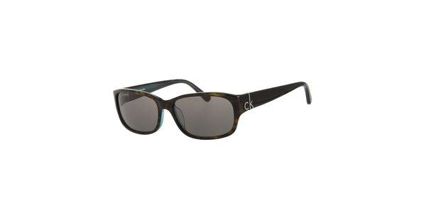 Dámské tmavě zelené želvovinové sluneční brýle Calvin Klein s modrými detaily