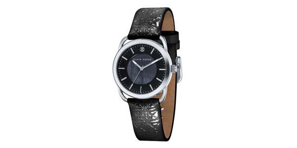 Dámské černé hodinky Klaus Kobec
