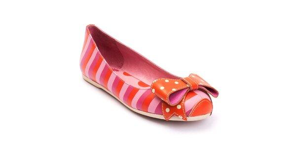 Dámské růžovo-červené balerínky s puntíkatou mašlí Lola Ramona