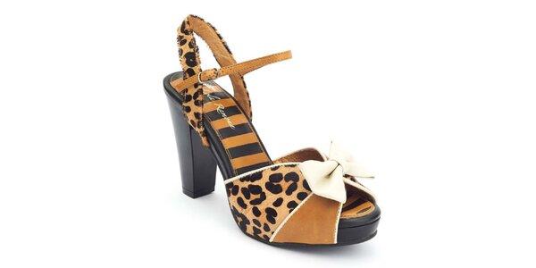 Dámské sandály s leopardím vzorem a mašlí Lola Ramona