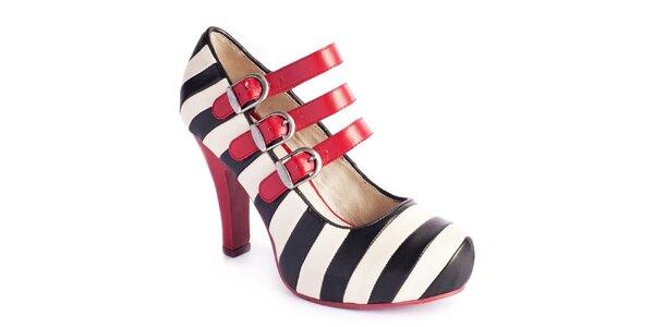 Dámské pruhované boty s červenými pásky Lola Ramona