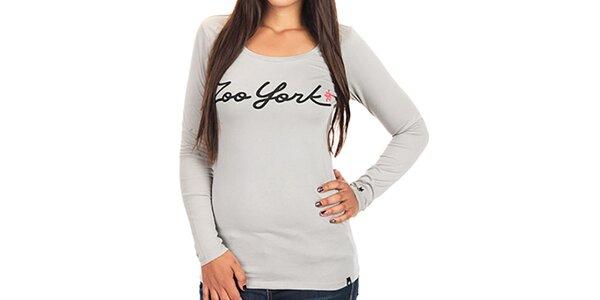 Dámské tričko s dlouhým rukávem a nápisem Zoo York