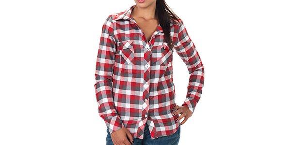 Dámská červeně kostkovaná košile s dlouhým rukávem Zoo York