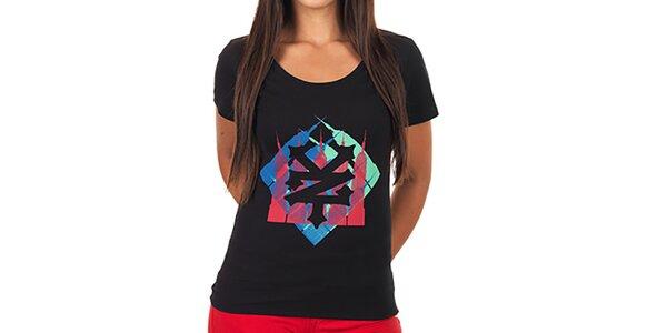 Dámské černé potištěné tričko Zoo York