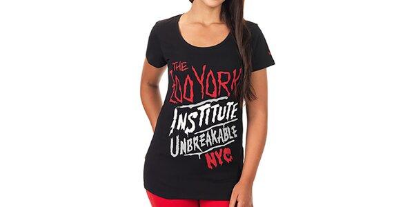 Dámské černé prodloužené tričko s barevným potiskem Zoo York