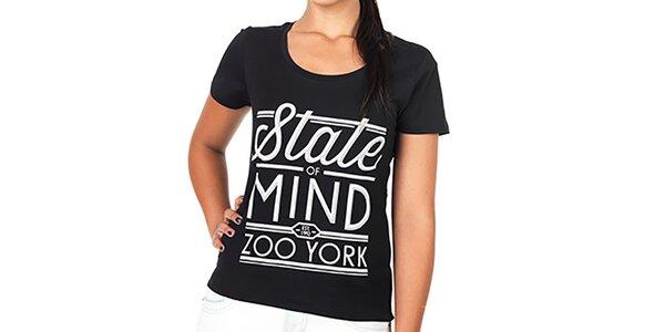 Dámské černé tričko s bílým potiskem Zoo York