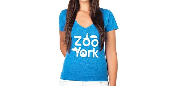 Dámské modré tričko s hlubokým výstřihem Zoo York