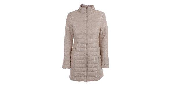 Dámský béžový prošívaný kabát s krajkou B.style