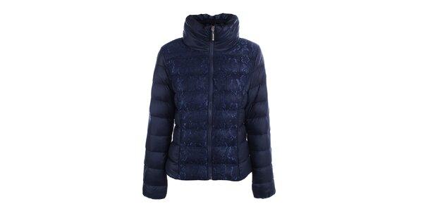 Dámská modrá prošívaná bunda s krajkou B.style