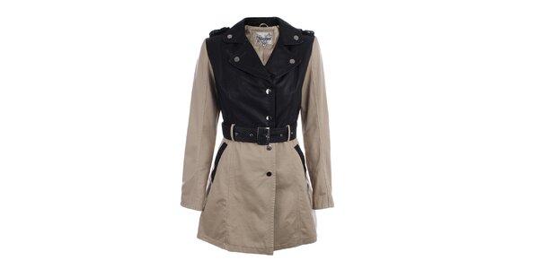 Dámský béžovo-černý kabát s páskem Mila store