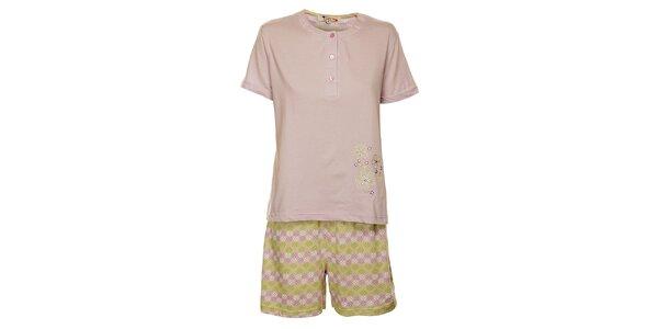 Dámské šeříkové pyžamo Isma s kytičkami - šortky a tričko