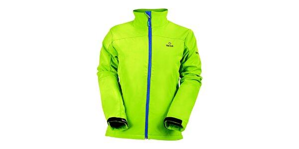 Dámská světle zelená softshellová bunda s modrým zipem Izas