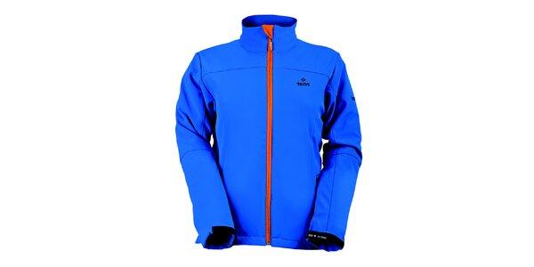 Dámská modrá softshellová bunda s oranžovým zipem Izas