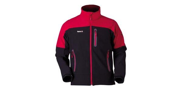 Pánská červeno-černá bunda na zip Izas