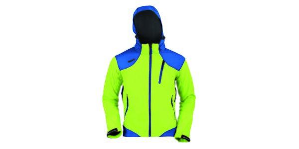 Pánská zeleno-modrá softshellová bunda Izas