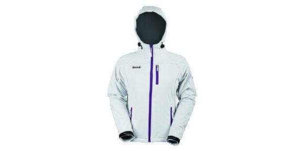 Dámská softshellová bílá bunda s fialovým zipem Izas